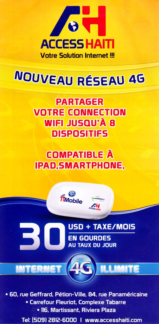 mobile internet from Access Haiti at just $30 usd a month