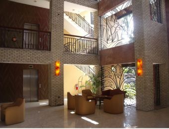 The entrance lobby at the Karibe Hotel