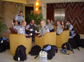 UN Canadian Police at the Karibe Hotel lobby having coffee