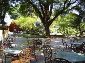 Outside garden area of the karibe Hotel