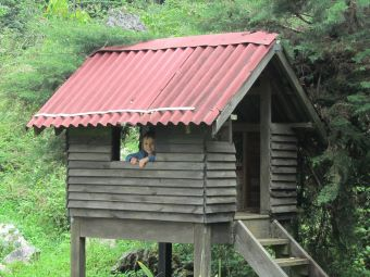boy at ranch le Montcel in a tree house
