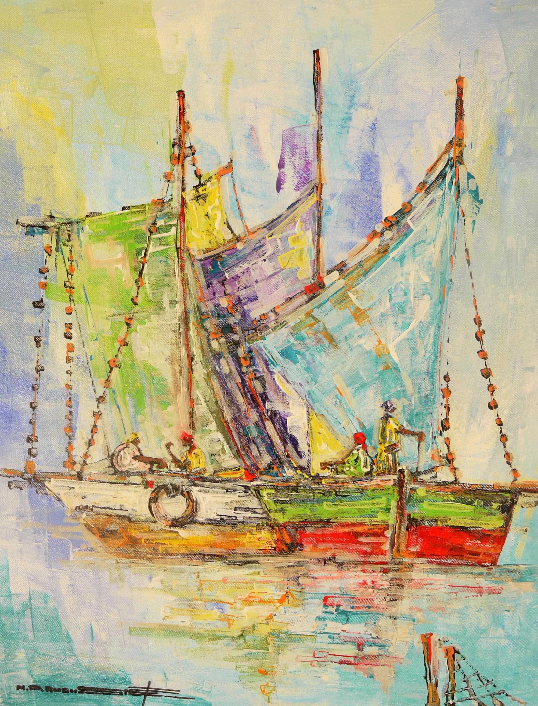 Les Bateaux/ 16x20 cm - From Mondy Pierre Auguste